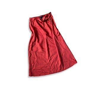 NWOT Silk Slip Skirt Burnt Red